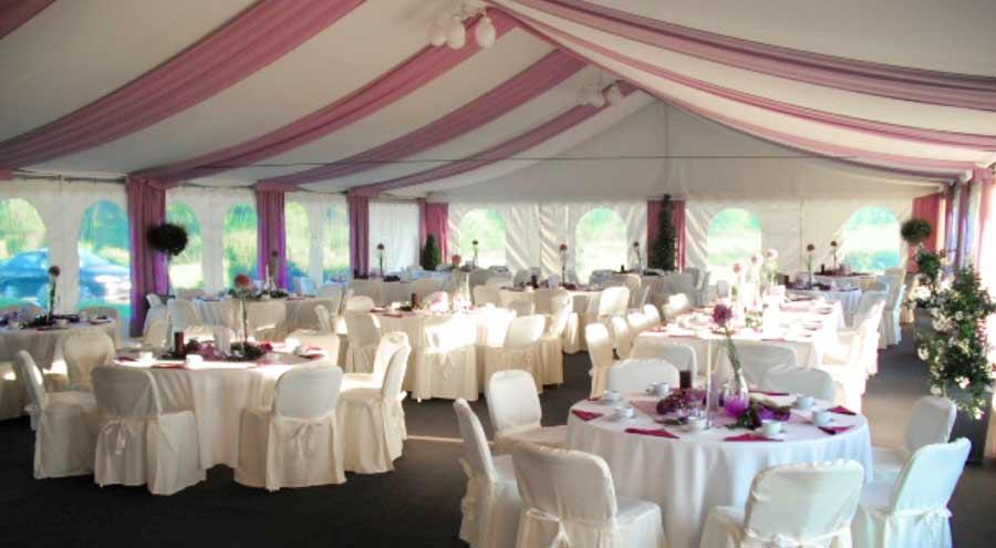 Zelte und leichtbauhallen von leube dekoration dach wand - Zelt deko hochzeit ...